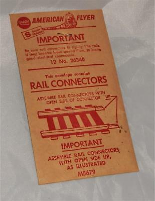 American Flyer 26340 PIKEMASTER Rail Connectors UNOPENED envelope of 12 S trains