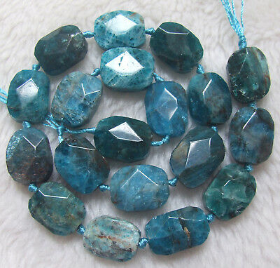 """13x18mm Natural Blue Apatite Faceted Rectangle Loose Beads 15.5"""""""