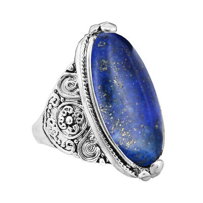 Flower Band Oval Natural Stone  Rings Vintage Look Antique Silver Plated Jewelry