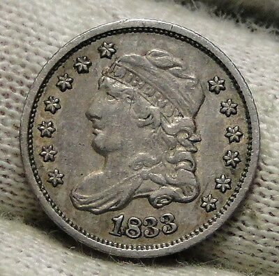 1833 Capped Bust Half Dime 5C Cents - Nice Coin, Free Shipping (5555)