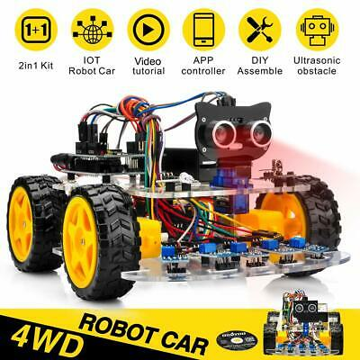 4WD Robot Car Kit  Tracking Wifi Bluetooth iOS / Android APP Control for Arduino