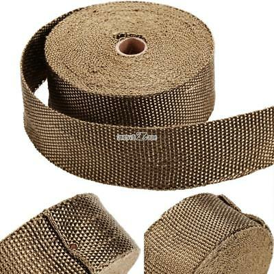 """1 Roll Titanium Lava Exhaust Header Pipe Heat Wrap 2""""x 50' Stainless ties kit US"""