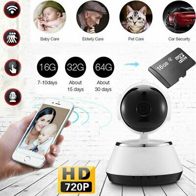 HD 720P WiFi Pan Tilt P2P IP Camera Audio Home Security Night Vision SD Card C10