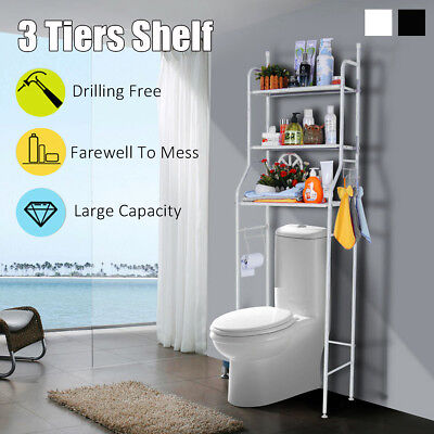 3Tiers Over Toilet Bathroom Laundry Washing Machine Storage Rack Shelf Organizer