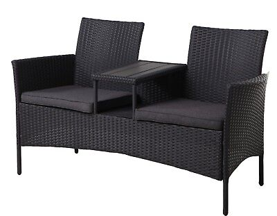 poly rattan gartenbank 2 sitzer sitzbank bank gartenm bel garten m bel schwarz eur 69 95. Black Bedroom Furniture Sets. Home Design Ideas