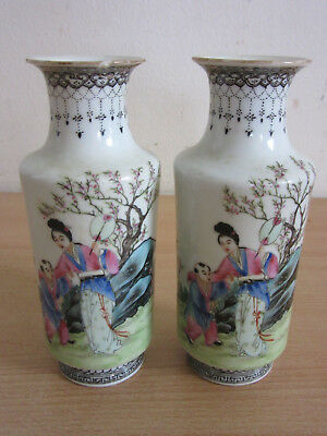 Pair Vintageantique Chinese Porcelain Vases With Figures Signed