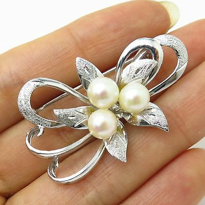 Vintage Japan 925 Sterling Silver Real Pearl Floral Bow Design Pin Brooch