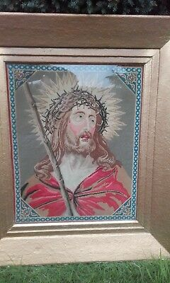 Antique 19thc Berlin woolwork Needlework Picture of Jesus Christ  / Embroidery