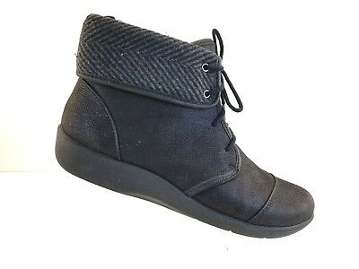 f3c01a28d Clarks Sillian Frey Cloud Steppers Lace-Up & Zip Ankle Boots Womens 8W  Black+