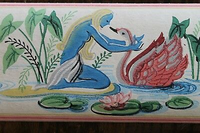 Antique 1930s Wallpaper Border Art Deco Pink Swans Water Lilies Nymph 12Ft Roll