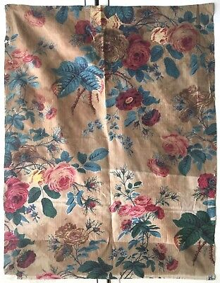 Beautiful Antique 19th French Printed Floral Cotton Chintz Fabric (2366)