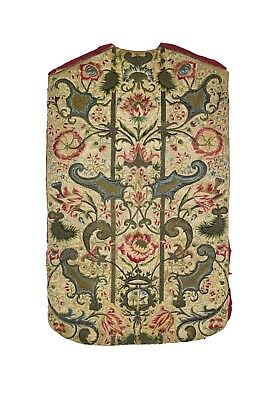 Italian Chasuble Front with Embroidered Silk Threads, 1700's