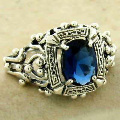Victorian Antique Style 925 Sterling Silver Royal Blue Sim Sapphire Ring  ,#1127