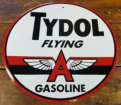 """Tydol Flying A Gasoline Wings Logo 12"""" Round Metal Gas Station Advertising Sign"""
