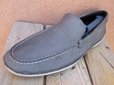 COLE HAAN Mens Dress Shoes Soft Light Gray Casual Slip On Driver Loafer Sz 10.5M