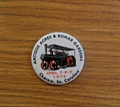 Vintage 1972 Antique Acres & Bomar Gardens Agriculture Advertising Pin Pinback