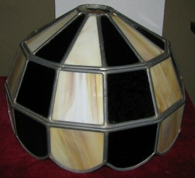Leaded Stained Slag Glass Lamp Shade Root Beer White Mission Style Vintage