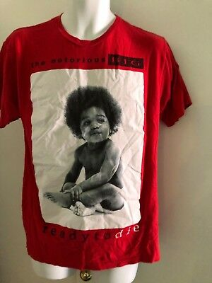 THE NOTORIOUS BIG Ready To Die 90's street wear Red Tee shirt medium Rap Hip-hop