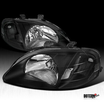 For 1999-2000 Honda Civic 2/3/4Dr JDM Black Crystal Headlights Lamps Replacement