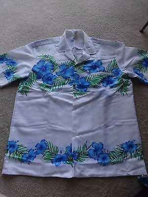 Vintage Royal Creations Men's Hawaiian Shirt White with Teal Flowers Size L