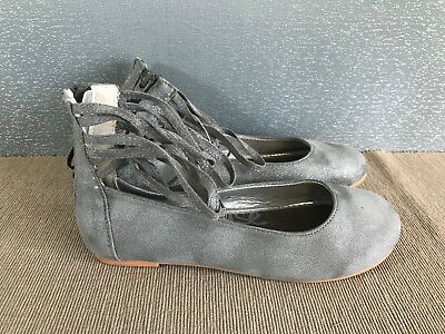 BNWT Older Girls Sz 2 Rivers Brand charcoal sparkle Look Ankle Cuff Flat Shoes