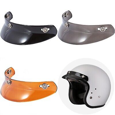 Vintage Visor Short Peak Sunshield for 3-Snap Motorcycle Open Half Face Helmets