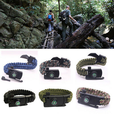 Paracord Survival Bracelet With Compass Flint Fire Starter Whistle Knife