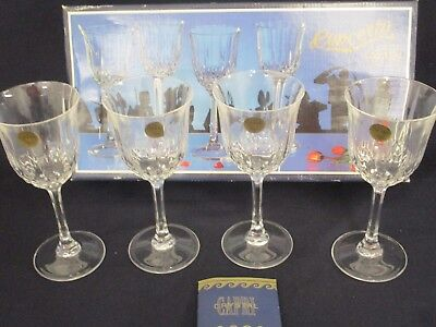 4 Vintage Cut Crystal Wine Glasses - Concerto Capri - Boxed - 17cm T x 7.5cm W