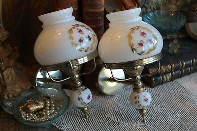 A Pretty Pair Vintage French Rosebud Wall Lights with White Opaline Glass Shades