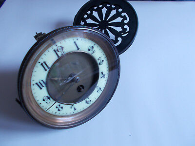 Antique French Timepiece Clock Movement Bezel Beveled Glass and Rear Door
