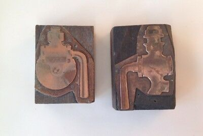 Two Antique Copper Letterpress Printing Blocks Stamps Industrial Engineering