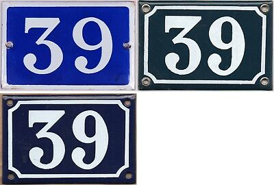 Old blue French house number 39 door gate wall fence street sign plate plaque