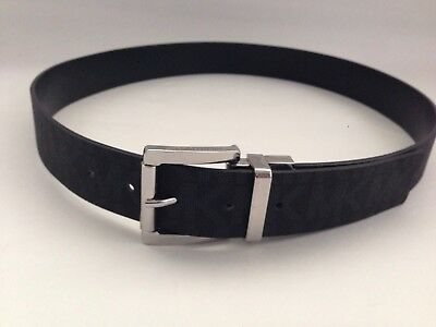 New Michael Kors Black Silver Belt * Imprinted Logo, Reversible to Solid Black