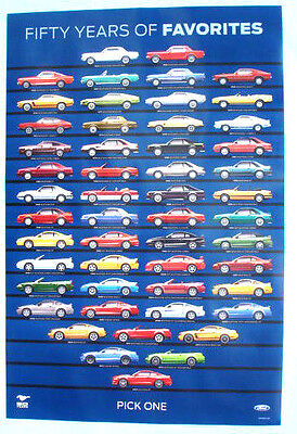 """Rare Blue Background """"50 YEARS of MUSTANG"""" Poster  - FREE U.S. SHIPPING"""