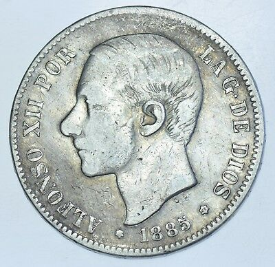 Spain Alfonso Xii, 5 Pesetas, 1885-Ms.m (86), Silver Coin Vf