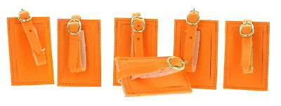 Lot of 6 Neon Orange Luggage Tags With Strap Travel ID Suitcase