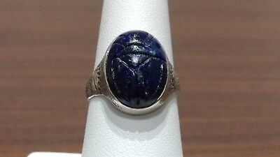Antique Scarab Sterling Silver 925 Ring  GFMW Egyptian Revival