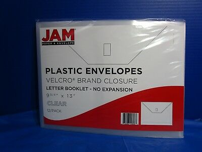 """JAM Paper Plastic Envelope With Velcro Closure Letter Booklet 9 3 4"""" X 13"""" Clear"""