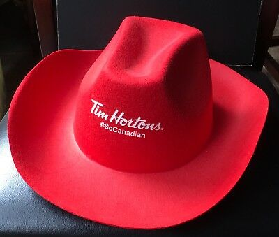 Tim Hortons SO CANADIAN Red Cowboy Hat Promo Limited Edition Canada Employee
