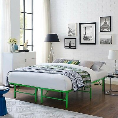 Folding Portable Low Profile Green Steel Metal Full Size Bed Frame With Slats