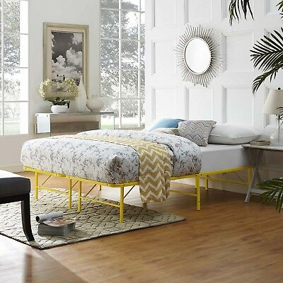 Folding Portable Low Profile Yellow Steel Metal Full Size Bed Frame With Slats