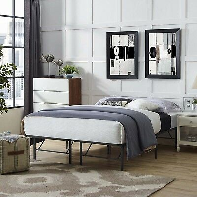 Folding Portable Low Profile Brown Steel Metal Queen Size Bed Frame With Slats