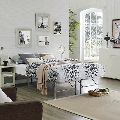 Folding Portable Low Profile Silver Steel Metal Queen Size Bed Frame With Slats