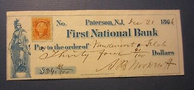 Old 1866 - First National Bank - PATERSON N.J. - Bank Check - Revenue Stamp