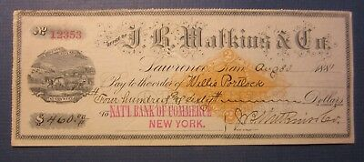 Old 1881 - J.B. Watkins - LAWRENCE Kansas - Bank Check - Revenue Stamp