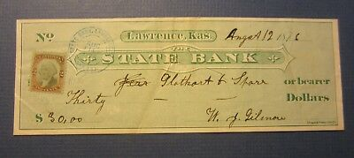 Old 1876 - State Bank - LAWRENCE Kansas - Bank Check - Revenue Stamp