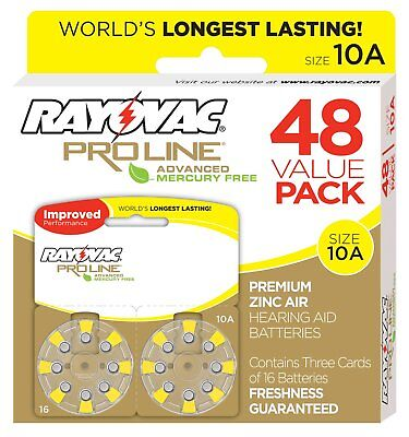 Rayovac Proline Advanced Mercury-Free Hearing Aid Batteries 48/Box Size 10