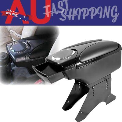 AU Black Leather Center Console Armrest Storage Box 2 Cup Holder For Toyota ND