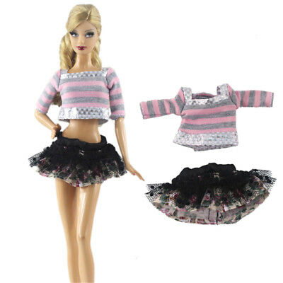 1 Set Handmade Doll Dress Clothes for Barbie Doll Party Daily Clothing JR