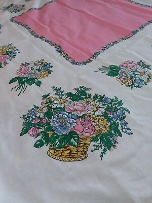 Vintage Tablecloth Pink And Flower Baskets Mint Clean Sparkling 54X52